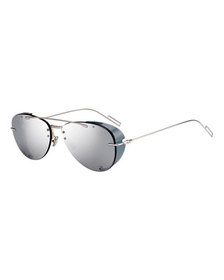 Dior Men's Chroma 1 Rimless Mirrored Aviator Sungl