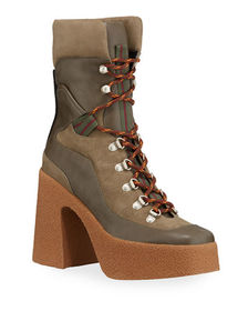 Stella McCartney Chunky Gum-Heel Lace-Up Boots