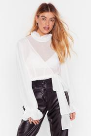 Nasty Gal White Tie Ruffle High Neck Blouse with W