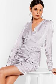 Nasty Gal Ivory Ruched Mini Dress in Wrap Design