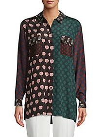 Lanvin Mixed-Print Silk Shirt RACING GREEN