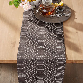 "Crate Barrel Nellie 120"" Embroidered Grey Table Ru"