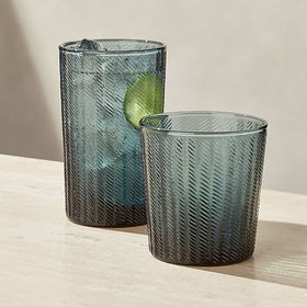 Crate Barrel Stroke 19-Ounce Teal Textured Highbal