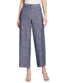 Max Studio Linen-Blend Striped Cropped Pants