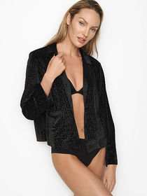 Victoria Secret Embellished Velvet Button-Down Top