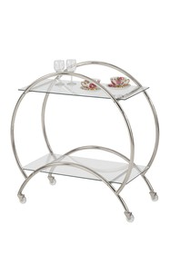 Jay Import Silver Plated Glass Rolling Cart on sale at Haute Look