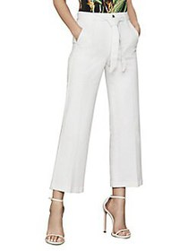 BCBGMAXAZRIA Belted Wide-Leg Jeans JANE WHITE