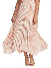 Vince Camuto Abstract-Print Pleated Skirt LIGHT ST