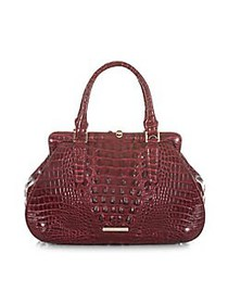 Brahmin Cranberry Melbourne Layla Embossed Leather