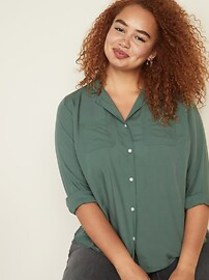 Relaxed Plus-Size No-Peek Utility Shirt