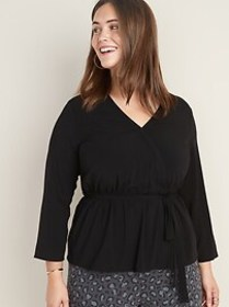 Faux-Wrap Plus-Size Tie-Belt Top