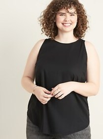 Relaxed Plus-Size High-Neck Sleeveless Top