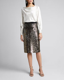 Milly Rachele Cowl-Back Hammered Satin Top