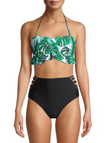 XOXO Ruffled Peplum Bandeau Bikini Top With Strapp