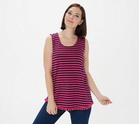 Belle by Kim Gravel Striped Tunic Tank with Pom Po