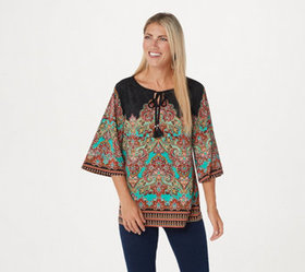 """As Is"" Belle by Kim Gravel Knit Paisley Top with"