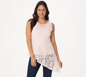 """As Is"" Isaac Mizrahi Live! Floral Lace Asymmetric"