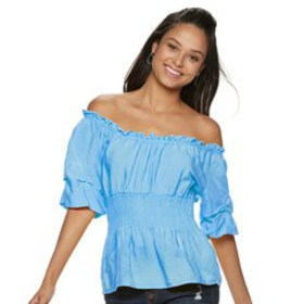 Juniors' Crave Fame Elbow Sleeve Smocked Waist Top
