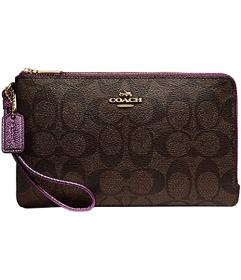 COACH Signature PVC Double Zip Wallet