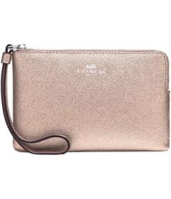 COACH Cross Grain Metallic Corner Zip