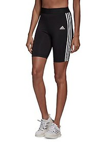 Adidas 3-Stripes High-Waist Stretch-Cotton Shorts