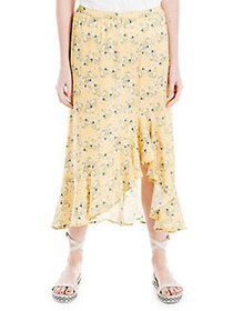 Max Studio Floral-Print High-Low Skirt YELLOW