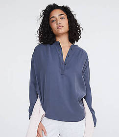 Lou & Grey Sueded Henley Shirt
