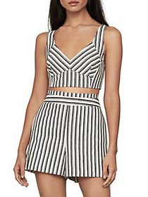 BCBGMAXAZRIA Striped Cotton & Linen-Blend Cropped
