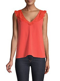 French Connection Lace Trimmed Sleeveless Top POPP