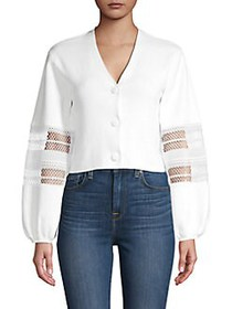 French Connection Lace-Trim Cotton Cropped Top SUM