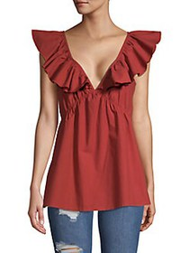 French Connection Azana Poplin Cotton Top RED