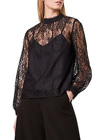 French Connection Apunda Lace Top UTILITY BLACK