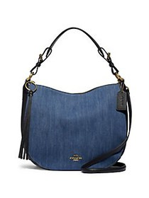 COACH Denim Sutton Hobo Bag BRASS DENIM