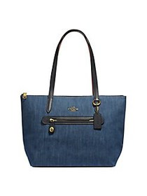 COACH Taylor Leather-Trim Denim Tote DENIM