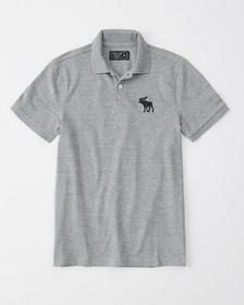Exploded Icon Stretch Polo, GREY