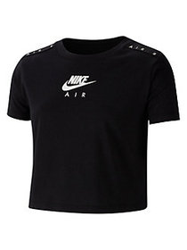 Nike Girl's Air Graphic Cotton Cropped Tee BLACK