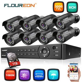 FLOUREON 8CH 1080N HDMI AHD DVR 3000TVL Outdoor 72