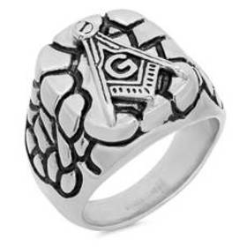 Mens Steeltime Stainless Steel Masonic Ring
