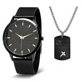 Mens Steeltime Watch And Necklace Set - B80152W811