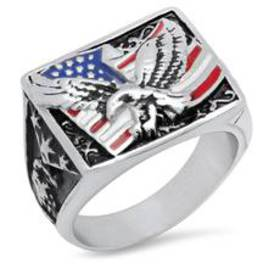 Mens Stainless Steel USA Ring with American Flag a