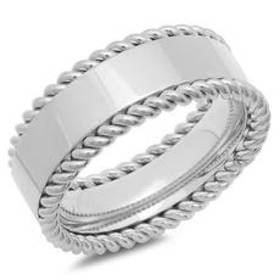 Mens Steeltime Stainless Steel Rope Twist Band Rin
