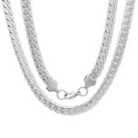 Mens Steeltime Stainless Steel Flat Curb Chain Nec