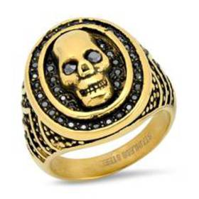 Mens 18kt. Gold Plated Steel Skull Ring with Simul