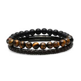 Mens Steeltime 2pc. Brown Leather & Tiger Eye Bead