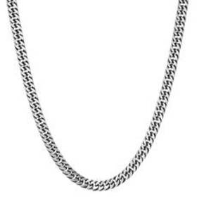 Mens Steeltime Stainless Steel Oxidized Chain Neck