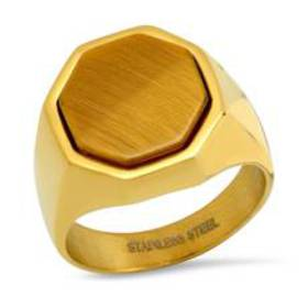 Mens 18kt. Gold-Plated Ring with Octagon Tiger Eye
