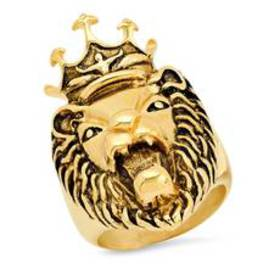 Mens 18kt. Gold Plated Steel Lion Head with Crown