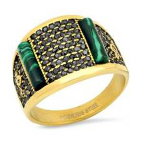 Mens 18kt. Gold Plated Ring with Simulated Diamond