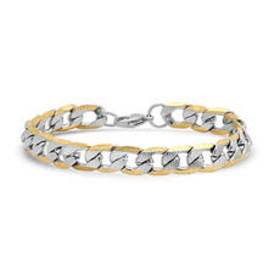 Mens Steeltime 18kt. Gold Plated Linear Curb Link