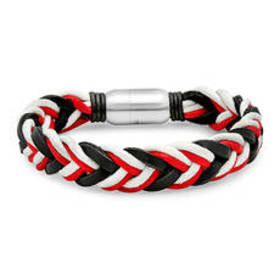 Mens Steeltime Red, White & Black Leather Braided